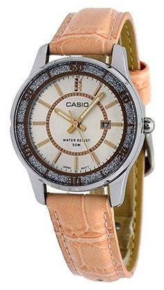2cc8f02b74a0 Casio Enticer LTP1358L-4AV Women s Lamé-Sprinkled Bezel Pink Leather Band  Watch