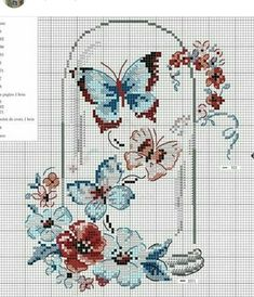 Counted Cross Stitch Patterns, Cross Stitch Charts, Cross Stitch Designs, Cross Stitch Embroidery, Embroidery Patterns, Butterfly Cross Stitch, Cross Stitch Flowers, Crochet Curtains, Cross Stitch Collection