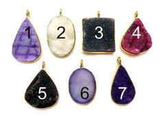 24 kt. Gold Plated Druzy Pendants  1 piece of  Mix by finegemstone, $15.00