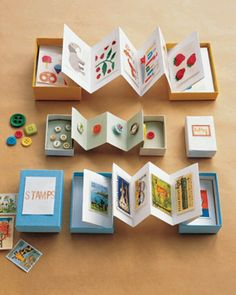 Treasure chests for kids! Fold paper accordian style. Glue first and last pages into the lids of a box. Everything is contained within the box!!
