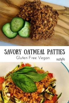 Vegan Gluten Free Savory Oatmeal Patties Recipe over Zoodles for a delicious healthy dinner! | Suzlyfe.com