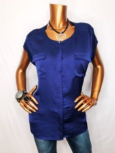 Chico's 2 M/L Top Blouse Short Sleeve Stretch Light Wgt Navy Button Down Shirt | eBay