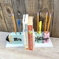 Teacher Signs Discover Personalized Teacher Pencil Bookends Wooden Pencil Holder Book Ends Personalized Teacher Gifts, Great Teacher Gifts, Mentor Teacher Gifts, Teacher Gift Baskets, Wooden Pencils, Teacher Signs, Teacher Appreciation Week, Etsy Business, Creative Gifts