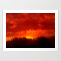 Red Sunset - Abstract Art Print by Grandmachismo - $13.78