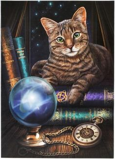 Tabby Cat Wall Plaque Art Print - Lisa Parker Fortune Telling Kitty Crystal Ball Mounted Art Print
