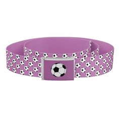 Reversible casual belt with a black and white soccer football balls pattern on radiant orchid purple on one side and solid radiant orchid purple on the other side by M to the Fifth Power #mtothefifthpower
