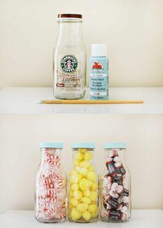 Verre bonbonnière idée creative pour la déco avec un pot en verre