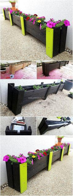 Now here is an idea to decorate the outdoor of the home, here you can see a planter idea which is painted black and yellow. The flowers are looking nice which are planted in it. This idea can be copied for placing inside the home for attractive look.