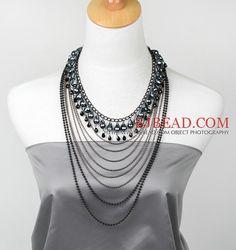 Style Fashion Multi Layer Cristal Negro y collar Declaración Hematite con cadena de metal