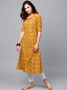 Buy AKS Women Mustard Yellow Printed A Line Kurta Kurtas for Women 2463731 Myntra is part of Kurti sleeves design - Kurti Sleeves Design, Kurta Neck Design, Sleeves Designs For Dresses, Dress Neck Designs, Blouse Designs, Printed Kurti Designs, Simple Kurti Designs, Kurta Designs Women, Stylish Dress Designs