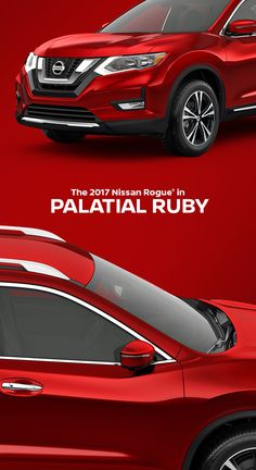 The 2017 Nissan Rogue in Palatial Ruby. Take on a bigger, bolder world. Get there in a redesigned crossover that brings an aggressive new look to consistent capability. Gain confidence with new available safety tech that helps keep an eye out. Load up in a snap with an interior that adapts for adventure. Call up directions, friends and your favorite driving jam at the touch of a button. Nissan Rogue shown in Palatial Ruby with optional equipment.