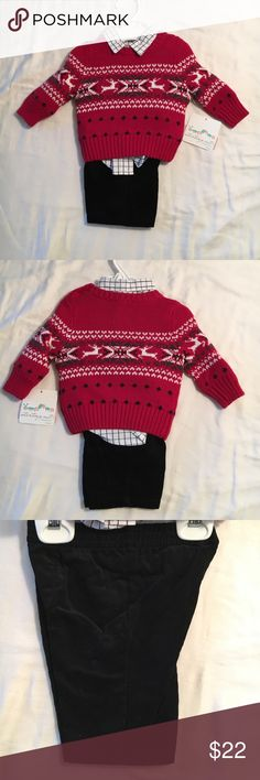 NWT Infant Boys 3 piece set NWT Boys Infant 3 piece set includes long sleeve sweater, long sleeve shirt, and courdory pants Starting Out Matching Sets