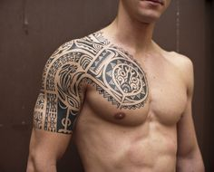 Tribal Sleeve Tattoo For Men Quarter Designs Ideas - http://www.hdtattoodesign.com/tribal-sleeve-tattoo-for-men-quarter-designs-ideas/