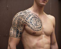 Tribal Sleeve Tattoo For Men Quarter Designs Ideas - http://www.hdtattoodesign.com/tribal-sleeve-tattoo-for-men-quarter-designs-ideas/