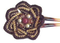Brown Flower Hair Pin   Handmade Hair by SophiesHatsandMore, $10.00
