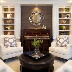 Living Room design ideas - traditional - living room - san diego - by Robeson Design Formal Living Rooms, Home Living Room, Living Room Furniture, Living Room Designs, Living Room Decor, Fireplace Furniture, Dining Rooms, Piano Room Decor, White Furniture
