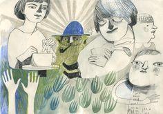 felicita sala illustration: crayons and pencils