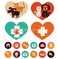 Vector veterinary emblems and signs - Stock Illustration - iStock