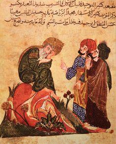 "Socrates and his students, miniature from Mubashshir ibn Fātik, Mukhtār al-ḥikam wa-maḥāsin al-kalim (""The Choicest Maxims and Best Sayings""), Seljuk manuscript, early 13th century; in the Topkapı Palace Museum, Istanbul."