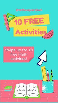 Grab over 10 free printable math actvities for grades 5-8 7th Grade Math, Free Math, Free Activities, Middle School, Free Printables, Teaching High Schools, Secondary School, Free Printable