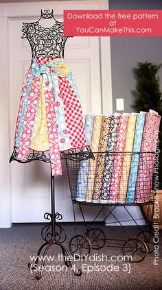 THIS is the apron I have been looking for! quick, easy, PLUS, it comes with a dishtowel that coordinates with the apron!!! As an added benny, it uses fat quarters!