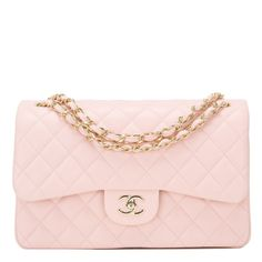 e5c3b9dc6af Chanel Light Pink Quilted Lambskin Jumbo Classic Double Flap Bag Chanel  Purse