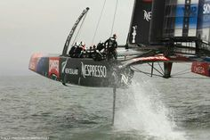 Ever seen a boat go airborne?  Team New Zealand during LV cup