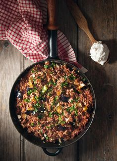 Moussaka in the frying pan. Much simpler than all other recipes. Make sure your Google translate is on to translate the website because the original is in Greek so some of the measurements are still going to be weird and words are misrepresented.