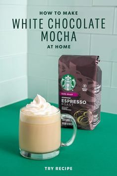 Espresso meets white chocolate in this classic Starbucks drink. Learn how to make a White Chocolate Mocha at home, then top it off with a dollop of whipped cream for a sweet, creamy beverage that is sure to delight with every sip. Espresso Recipes, Espresso Drinks, Coffee Drinks, Starbucks Drinks, Starbucks Recipes, Starbucks Egg Bites, Yummy Drinks, Healthy Drinks, Starbucks White Chocolate Mocha