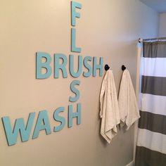 Bathroom crossword wall art by Aqua Lane Design. http://www.aqualanedesign.com/bathroom-crossword-art/. #bathroom #decor #diy #wallart #aqu...