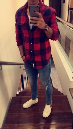 Red Plaid Shirt as a jacket or layered look goes well with jeans for a get away weekend or play or work clothes. Plaid Shirt Outfits, Casual Outfits, Men Casual, Fashion Outfits, Joggers Outfit, Mens Joggers, Red Shirt, Casual Shoes, Plaid Shirts