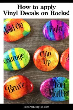 Can't master hand lettering? Use vinyl decals instead. This unique rock painting supply is perfect for creating kindness rocks or making rocks for gifts. #rockpainting101 #paintedrocks #vinyl Rock Painting Patterns, Rock Painting Ideas Easy, Rock Painting Designs, Dot Painting, Painting For Kids, Stone Painting, Stone Crafts, Rock Crafts, Rock Painting Supplies