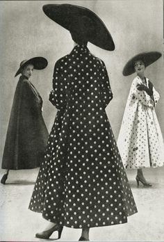 50's polka dot coat and wide brimmed hat Photo by Richard Avedon.  I want to dress like this.