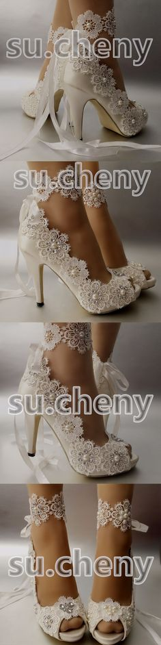 """Wedding Shoes And Bridal Shoes: 3"""" 4"""" Satin White Ivory Lace Snowflake Open Toe Heels Wedding Shoes Size 5-9.5 -> BUY IT NOW ONLY: $49.99 on eBay!"""