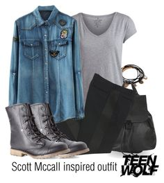 """""""Scott Mccall inspired outfit/TW"""" by tvdsarahmichele ❤ liked on Polyvore featuring Forever 21, Pieces, Topshop, CÉLINE and Dirty Laundry"""