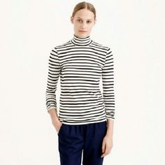 J Crew Striped Turtleneck Top. NWOT Classic wardrobe staple. Cotton blend material. Black white striped long sleeve. J. Crew Tops Tees - Long Sleeve