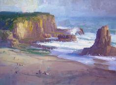 """Davenport Beach by Richard Robinson Oil ~ 11.5"""" x 17"""""""