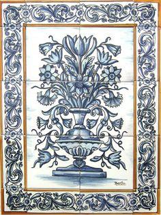 figura 5 Azulejos Art Nouveau, Art Populaire, Turkish Tiles, Tile Murals, Drawing Projects, Color Balance, Ceramic Flowers, China Painting, Arte Floral