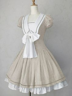 Sweet or Classic lolita style dress. Front is a japanese-style school uniform complete with HUGE bow e_e Cap sleeves and white petticoat / underskirt. Pretty Outfits, Pretty Dresses, Beautiful Dresses, Cute Outfits, Kawaii Fashion, Lolita Fashion, Cute Fashion, Estilo Lolita, Kawaii Dress