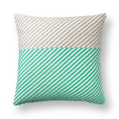Buy Teal Horizontal Block Striped Cushion from Oliver Bonas