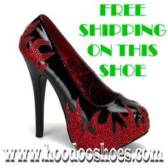 Bordello Shoes Teeze Flames Black & Red Platform Heels