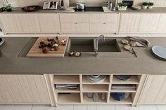 Risultati immagini per piano cucina cemento legno