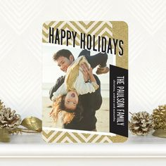 Zigzag Glitz - Flat #Holiday Photo Cards by Petite Alma in black, white and gold