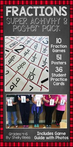 Fraction Games, Posters, and Activities - Includes photo guide for 10 fraction games, individual student cards, and large fraction posters! My class loved this!