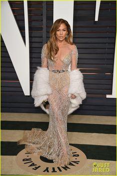 Jennifer Lopez Stuns in Sheer Dress at Oscars After Party 2015