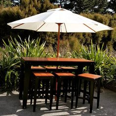 Here comes summer! Heavy duty bar leaner (on wheels) and matching stools makes for a great afternoon in the sun. Here Comes, Outdoor Furniture, Outdoor Decor, Stools, Wheels, Patio, Sun, Summer, How To Make