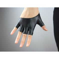 Real Leather Short Gloves - Black - Genuine Sheepskin Lamb - Women -... (20 AUD) ❤ liked on Polyvore featuring accessories, gloves, cashmere-lined leather gloves, lined gloves, fingerless gloves, leather gloves and leather palm gloves
