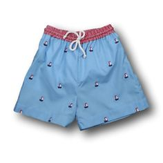 dc86bc1874 Blue Windowpane Embroidered Sailboat Trunks Baby Boy Swimwear, Girls  Shopping, Baby Shop, Patterned