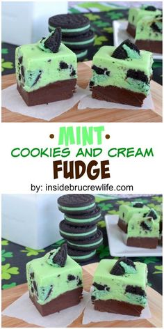 Mint Chocolate Cookies and Cream Fudge - two layers of fudge loaded with Oreo cookie chunks! Great no bake dessert recipe!