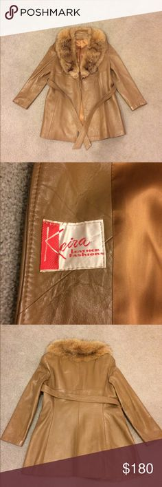 Vintage Tan Leather Coat w/ Fur Collar Keira Leather Fashions Tan Coat. Size 10 Beautiful Coat in Excellent Condition. Keira Leather Fashions Jackets & Coats